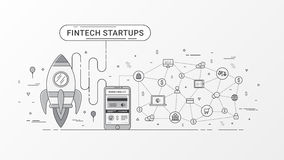 Fintech startup infographic. Financial technology and new business investment with blockchain technology. Fintech startup infographic. Financial technology and Royalty Free Stock Image