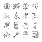 Fintech and Startup vector line icon set. Included the icons as unicorn, fintech, finance app, cryptocurrency and more. Stock Photo