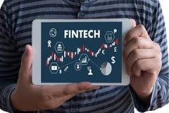 FINTECH technologii pieniądze Inwestorski Pieniężny Internetowy biznes obraz stock