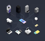 Fintech technology concept. ATM, NFC, mobile payment devices etc, connected by network. Fintech technology concept. 3D rendering image Stock Photography