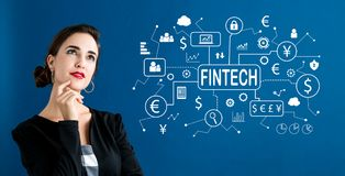 Fintech-Thema mit Geschäftsfrau lizenzfreie stockfotos