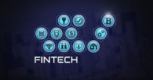 Fintech with various business icons. Digital composite of Fintech with various business icons Royalty Free Stock Photos