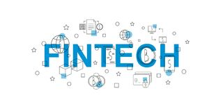 Fintech vector banner. Word with line icon