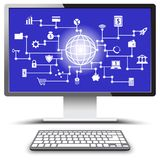 Fintech White Icons On PC Monitor Screen. Vector Fintech White Icons Around A Globe Involving In Financial Technology, Banking, And Investment With Blue Royalty Free Stock Photos