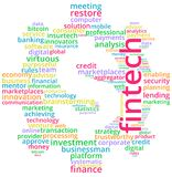 Fintech Word Cloud Text Illustration. Royalty Free Stock Photography
