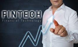 Fintechtouchscreen wordt in werking gesteld door mensenconcept royalty-vrije stock fotografie