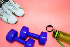 Fintes dumbbells, sneakers, a bottle of water and a fitness bracelet on a pink mat, sports concept stock photo