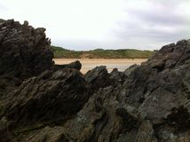 Fintra rocks. Fintra beach, Kilcar, Co Donegal, Ireland Stock Image