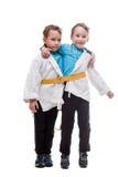 Finzione divertente dei fratelli gemelli siamese, in studio Fotografia Stock