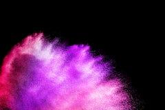 Fiołek menchii proszka wybuchu chmura odizolowywająca na czarnym tle Obrazy Stock
