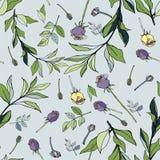 Fiołkowe i żółte róże z zielonymi liśćmi na błękitnym tle ilustracja wektor