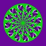 Fiołkowy butterflies_ zieleni okrąg Ilustracja Wektor