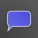 Fiołkowy mowa bąbel dla rozmowy przy prostokątnym kształtem Obraz Stock
