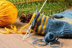 Fio, agulhas de confecção de malhas e mitenes Fotografia de Stock Royalty Free