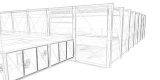fio-frame da rendição 3D do edifício. Imagens de Stock Royalty Free