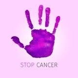 Fiołkowy handprint i teksta przerwy nowotwór Zdjęcie Royalty Free