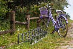 Fiołkowy rower z koszykowymi i rowerowymi stojakami blisko drewnianego ogrodzenia Obraz Royalty Free