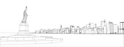 Fio-quadro New York City, estilo do modelo Fotos de Stock Royalty Free