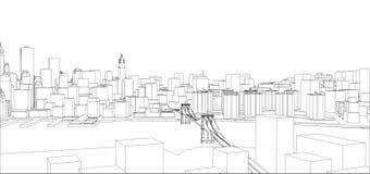 Fio-quadro New York City, estilo do modelo Imagem de Stock