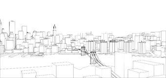 Fio-quadro New York City, estilo do modelo Fotos de Stock