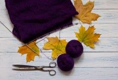 Fio, tela da malha, agulhas de confecção de malhas, tesouras e amarelo violetas Imagens de Stock Royalty Free