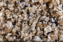 Fiocchi affumicati del sale marino, su un cucchiaio di legno e sparso. Macro. Fotografie Stock