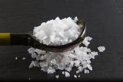 Fiocchi affumicati del sale marino, su un cucchiaio di legno e sparso. Macro. Immagine Stock