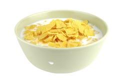 Fiocchi di granturco e latte Fotografie Stock