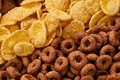Fiocchi di granturco ed anelli della prima colazione dei cereali Immagini Stock Libere da Diritti