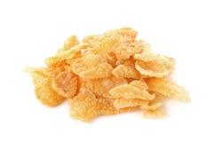 Fiocchi di mais, fiocchi di granturco isolati su fondo bianco Fotografia Stock Libera da Diritti