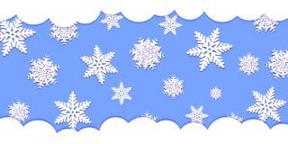 Fiocchi di neve bianchi con ombra su fondo blu taglio della carta Vect royalty illustrazione gratis