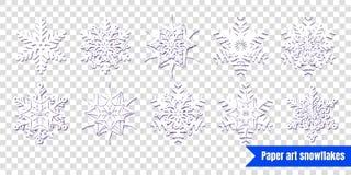Fiocchi di neve bianchi con ombra su fondo trasparente Cu di carta royalty illustrazione gratis