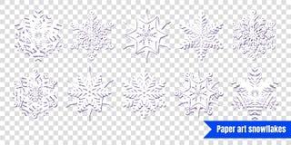 Fiocchi di neve bianchi con ombra su fondo trasparente Cu di carta illustrazione di stock