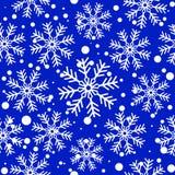 Fiocchi di neve bianchi sopra il blu Priorità bassa senza giunte di vettore illustrazione vettoriale