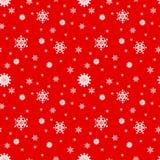 Fiocchi di neve bianchi su un fondo rosso, modello senza cuciture Vettore illustrazione vettoriale
