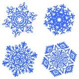Fiocchi di neve blu messi Fotografia Stock Libera da Diritti