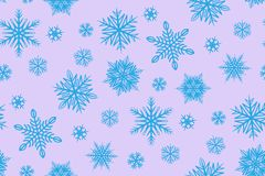 Fiocchi di neve blu su fondo rosa illustrazione di stock