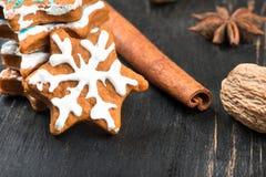 Fiocchi di neve del pan di zenzero di Natale Fotografia Stock Libera da Diritti
