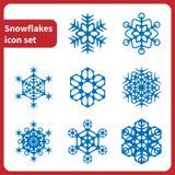 Fiocchi di neve dell'icona set Fotografie Stock