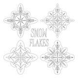 Fiocchi di neve descritti per progettazione stagionale di inverno o di coloritura royalty illustrazione gratis