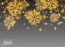 Fiocchi di neve di caduta casuali dell'oro del modello astratto di scintillio Immagine Stock