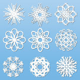 Fiocchi di neve di carta messi Fotografie Stock Libere da Diritti