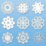 Fiocchi di neve di carta messi Fotografia Stock Libera da Diritti