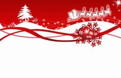 Fiocchi di neve di colore rosso della cartolina di Natale Immagini Stock Libere da Diritti