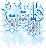 Fiocchi di neve di Natale con l'arco, decorazione di inverno Immagini Stock