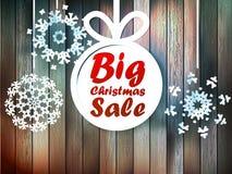 Fiocchi di neve di Natale con la grande vendita. Fotografie Stock Libere da Diritti