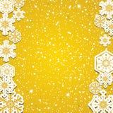 Fiocchi di neve dorati di inverno astratto Immagini Stock Libere da Diritti