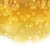 Fiocchi di neve dorati di inverno astratto Fotografie Stock Libere da Diritti
