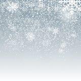 Fiocchi di neve e neve brillanti di caduta su fondo blu Fondo di Natale, di inverno e del nuovo anno Vettore realistico Fotografia Stock