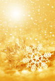 Fiocchi di neve e neve di Natale Fotografie Stock Libere da Diritti